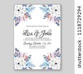 floral wedding invitation...   Shutterstock .eps vector #1118729294
