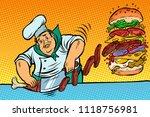 cook prepares burger. fast food ... | Shutterstock .eps vector #1118756981