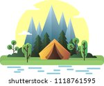 vector tent on the nature | Shutterstock .eps vector #1118761595