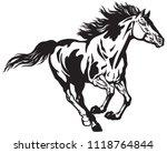 horse running free . pinto... | Shutterstock .eps vector #1118764844