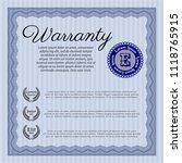 blue warranty. excellent design.... | Shutterstock .eps vector #1118765915