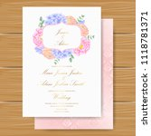 wedding floral invitation with  ... | Shutterstock .eps vector #1118781371