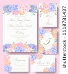 wedding floral invitation with  ... | Shutterstock .eps vector #1118781437