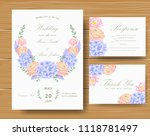 wedding floral invitation with  ... | Shutterstock .eps vector #1118781497