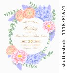 wedding floral invitation with  ... | Shutterstock .eps vector #1118781674