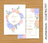 wedding floral invitation with  ... | Shutterstock .eps vector #1118781797
