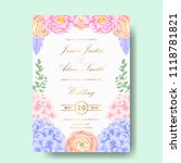 wedding floral invitation with  ... | Shutterstock .eps vector #1118781821