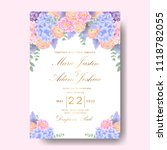 wedding floral invitation with  ... | Shutterstock .eps vector #1118782055