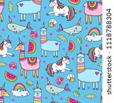 seamless pattern with cute... | Shutterstock .eps vector #1118788304