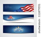labor day usa banner design set ... | Shutterstock .eps vector #111879551
