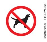 no dogs sign isolated on white... | Shutterstock .eps vector #1118796851