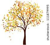 Autumn Birch Tree With Falling...