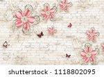 3d wallpaper design with floral ... | Shutterstock . vector #1118802095
