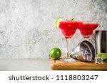 watermelon margarita cocktail... | Shutterstock . vector #1118803247