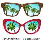 sunglasses reflecting tropical... | Shutterstock .eps vector #1118808584