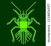 green bug circuit board. 100 ...   Shutterstock .eps vector #1118826557