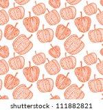 doodle textured pumpkins... | Shutterstock .eps vector #111882821
