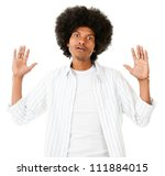 Frustrated black man - isolated over a white background - stock photo
