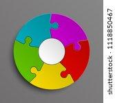 puzzle five color piece...   Shutterstock . vector #1118850467