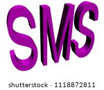 sms button isolated  3d... | Shutterstock . vector #1118872811
