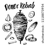 doner kebab. hand drawn sketch... | Shutterstock .eps vector #1118873954