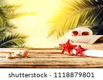 desk of free space and summer... | Shutterstock . vector #1118879801