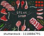 steak shop. meat cuts   beef ... | Shutterstock .eps vector #1118886791