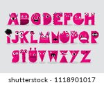 pink monster typography design... | Shutterstock .eps vector #1118901017