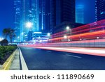 light trails on the street in... | Shutterstock . vector #111890669