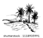 sketch of oasis in the desert.... | Shutterstock .eps vector #1118935991