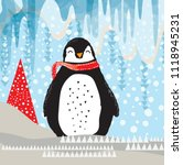 cute winter penguin | Shutterstock .eps vector #1118945231