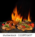 delicious pieces of meat on... | Shutterstock . vector #1118951657