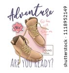 adventure slogan with boots... | Shutterstock .eps vector #1118952149