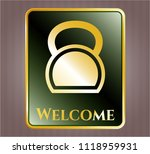 shiny emblem with kettlebell... | Shutterstock .eps vector #1118959931