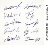 signature vector autograph name | Shutterstock .eps vector #111896675