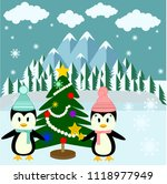 cute penguins couple with snow... | Shutterstock .eps vector #1118977949