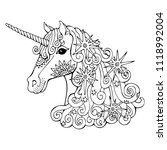 unicorn with stars. hand drawn... | Shutterstock .eps vector #1118992004
