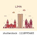 lima skyline  peru. trendy... | Shutterstock .eps vector #1118995685