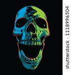 psychedelic screaming skull on... | Shutterstock .eps vector #1118996504
