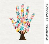 tree made of colorful human... | Shutterstock .eps vector #1119000641