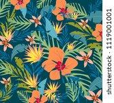 tropical flowers card... | Shutterstock .eps vector #1119001001