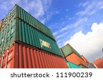 stack of cargo containers at... | Shutterstock . vector #111900239