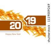 happy new year 2019 text design ... | Shutterstock .eps vector #1119009269