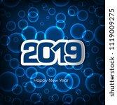 happy new year 2019 text design ... | Shutterstock .eps vector #1119009275