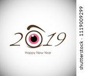 happy new year 2019 text design ... | Shutterstock .eps vector #1119009299