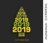 happy new year 2019 text design ... | Shutterstock .eps vector #1119009341