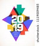 happy new year 2019 text design ... | Shutterstock .eps vector #1119009485