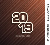 happy new year 2019 text design ... | Shutterstock .eps vector #1119009491
