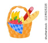 vector wicker picnic basket... | Shutterstock .eps vector #1119025235