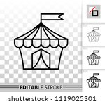 circus tent thin line icon.... | Shutterstock .eps vector #1119025301